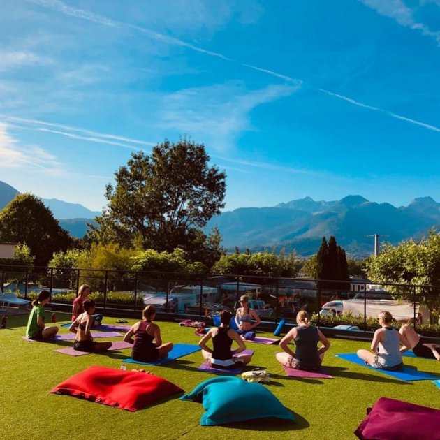 yoga on the sun terrace camping la ravoire annecy